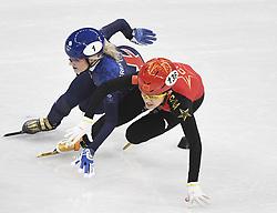 PYEONGCHANG, Feb. 17, 2018  Li Jinyu of China (R) competes during ladies' 1500m semi final of short track speed skating at 2018 PyeongChang Winter Olympic Games at Gangneung Ice Arena, Gangneung, South Korea, Feb.17, 2018. (Credit Image: © Wang Song/Xinhua via ZUMA Wire)