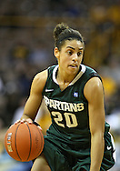 January 27 2010: Michigan St. guard Brittney Thomas (20) drives with the ball during the second half of an NCAA women's college basketball game at Carver-Hawkeye Arena in Iowa City, Iowa on January 27, 2010. Iowa defeated Michigan State 66-64.