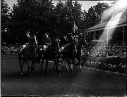 05/08/1960<br /> 05/08/1960<br /> 05 August 1960<br /> R.D.S Horse Show Dublin (Friday). Aga Khan Trophy. The English Team was second in the Aga Khan Trophy International Jumping Competition at the Dublin Horse Show. (l-r): Miss Pat Smythe on &quot;Flanagan&quot;; David Barker on &quot;Franco&quot;; Mrs Dawn Wofford on &quot;Hollandia&quot; and David Broome on &quot;Sunsalve&quot;.