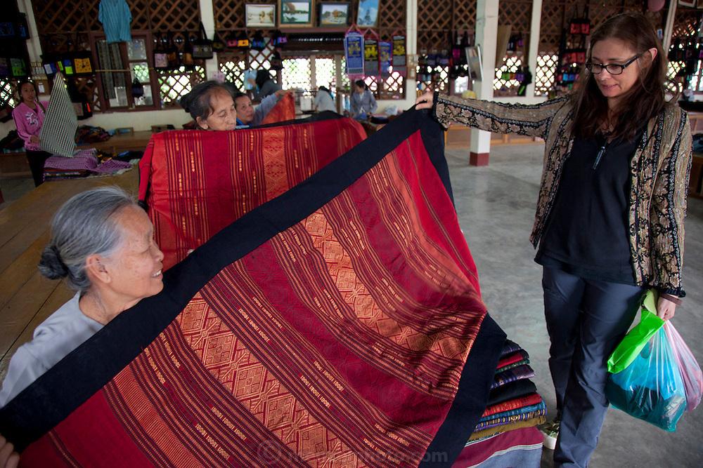 Tai Leu weaving village and market near Luang Prabang, Laos.
