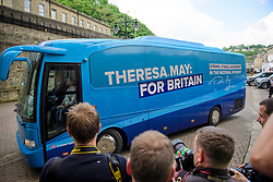 © Licensed to London News Pictures. 18/05/2017. Halifax, UK.  The Conservative Party battle bus arrives for the launch event for the Conservative Party manifesto at The Arches in Halifax, West Yorkshire. The Conservatives are the last of the three main parties to launch their manifesto ahead of a snap general election called for June 8, 2017. Photo credit: Ben Cawthra/LNP