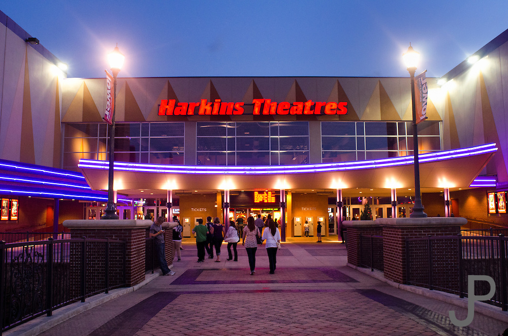 sunset view of harkins theater in bricktown area of