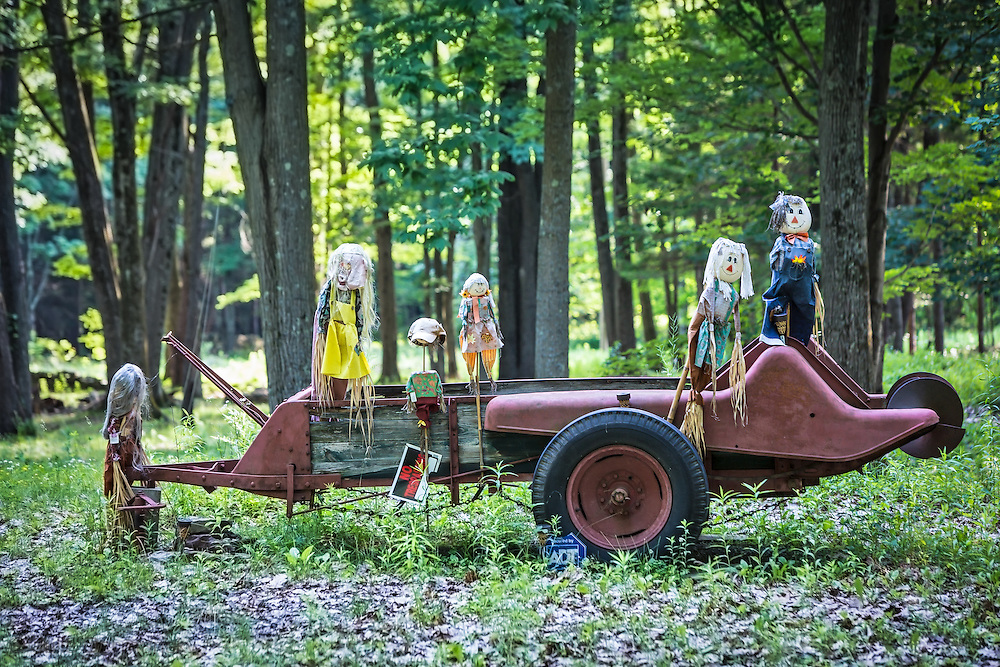June 26, 2015. The former home-site of Julie and Craig Sautner, whose water was  contaminated after Cabot Oil and Gas started drilling near by.  After the Sautner's sold and moved away from Dimock, PA, a pro drilling neighbor set up an effigy of the Sautner family. It is a reminder who divided the community in usquehanna County, PA is over the fracking industry despite the numerous cases of water contamination the industry has caused.