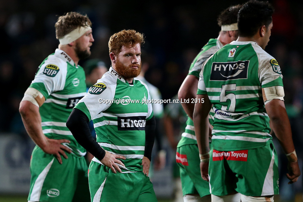 Jamie Booth of Manawatu dejected after losing the ITM Cup rugby match between Southland and Manawatu at Rugby Park Stadium, Invercargill, Saturday, September 19, 2015. Photo: Dianne Manson / www.photosport.nz
