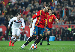 March 23, 2019 - Valencia, Valencia, Spain - Sergio Ramos of Spain scoring a goal during European Qualifiers championship, , football match between Spain and Norway, March 23th, in Mestalla Stadium in Valencia, Spain. (Credit Image: © AFP7 via ZUMA Wire)
