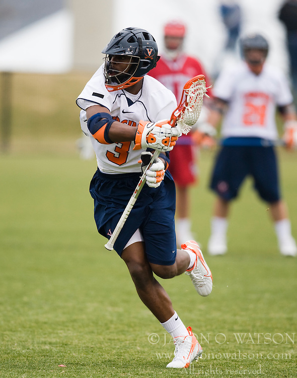 Virginia midfielder Rhamel Bratton (3).  The #3 ranked Virginia Cavaliers men's lacrosse team defeated the Stony Brook Seawolves 15-13 at the University of Virginia's Klockner Stadium in Charlottesville, VA on February 23, 2008.