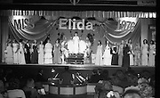 """Miss Elida"" Final At Mosney, Co Meath..1976..01.09.1976..09.01.1976..1st September 1976..The final of the ""Miss Elida"" lovely hair competition was held in The Gaiety Theatre,Butlins Holiday Centre,Mosney,Co Meath tonight. The competition is sponsored by Lever Bros,Sheriff St,Dublin. The shows compere was Mr Mike Murphy..Image shows the contestants taking their place on the stage of the Gaiety Theatre."