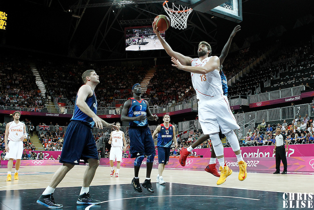 02 August 2012: Spain Marc Gasol goes for the reverse layup during 79-78 Team Spain victory over Team Great Britain, during the men's basketball preliminary, at the Basketball Arena, in London, Great Britain.