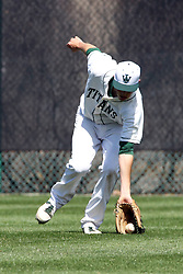 14 April 2013:  Jon Frericks scoops up a ball in short center field during an NCAA division 3 College Conference of Illinois and Wisconsin (CCIW) Baseball game between the Elmhurst Bluejays and the Illinois Wesleyan Titans in Jack Horenberger Stadium, Bloomington IL