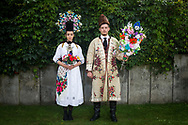 Silke and Phillip are wearing a traditional costume of the Siebenb&uuml;rgen Sachsen from the region Rode in F&uuml;rth, Germany on July 27, 2017.<br /> <br /> The dress was worn every Sunday to church from the engagement that was traditionally around Christmas until the wedding was held in January.