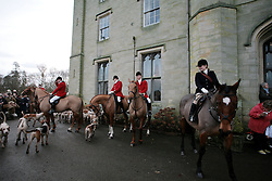 The annual Boxing Day Old Surrey Burstow and West Kent Hunt at Chiddingstone Castle, near Tonbridge, Kent, UK, December 26, 2012. Photo by Matt Devine / i-Images.