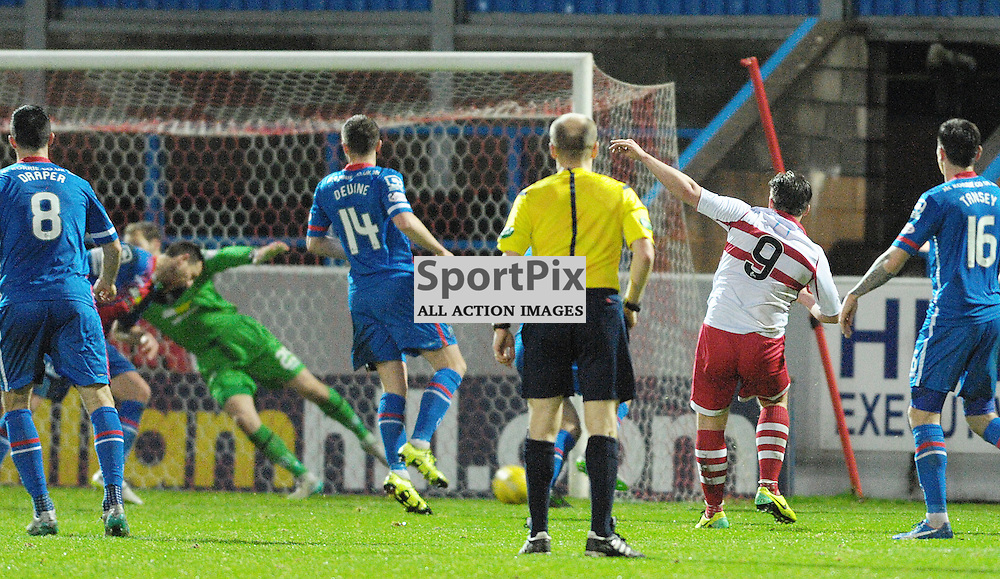 Gary Warren (ICT, Blue &amp; Red) gets a header in to prevent Steven Doris (Stirling Albion, red &amp; white, 9) from snatching a late winner for the home side<br /> <br /> Stirling Albion v Inverness Caledonian Thistle, Scottish Cup, Saturday 9th January 2016<br /> <br /> (c) Alex Todd   SportPix.org.uk