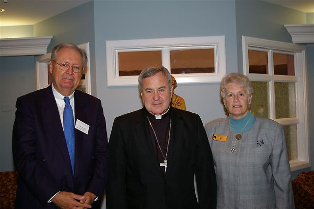 l to r - Dale Thompson, CEO/President Benedictine Health System, Archbishop Robert Carlson, S. Suzanne Wesley, CSJ, Member Leadership Team, shown at Nazareth Living Center where Archbishop Carlson recognized the new co-sponsorship.
