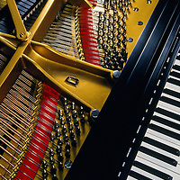 Close up of a Baby Grand piano at the Steinway Factory, Astoria, Queens, New York.