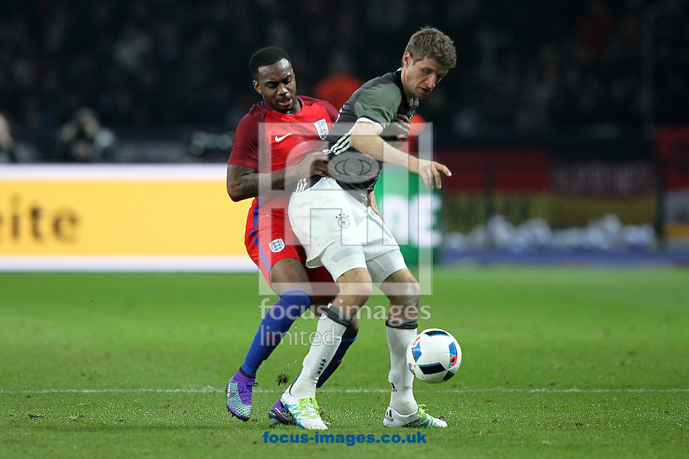 Danny Rose of England and Thomas Muller of Germany during the International Friendly match at Olympiastadion Berlin, Charlottenburg-Wilmersdo<br /> Picture by Paul Chesterton/Focus Images Ltd +44 7904 640267<br /> 26/03/2016