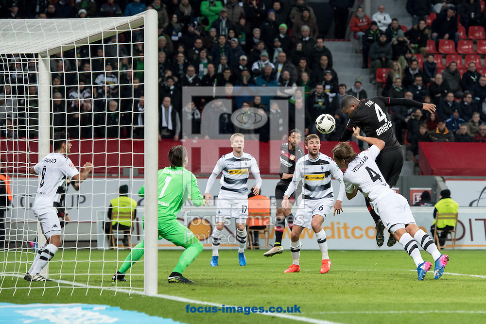Jonathan Tah of Bayer Leverkusen scores the opening goal against Borussia Monchengladbach during the Bundesliga match at BayArena, Leverkusen<br /> Picture by EXPA Pictures/Focus Images Ltd 07814482222<br /> 28/01/2017<br /> *** UK &amp; IRELAND ONLY ***<br /> <br /> EXPA-EIB-170128-1313.jpg