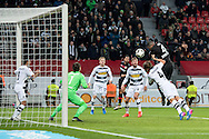 Jonathan Tah of Bayer Leverkusen scores the opening goal against Borussia Monchengladbach during the Bundesliga match at BayArena, Leverkusen<br /> Picture by EXPA Pictures/Focus Images Ltd 07814482222<br /> 28/01/2017<br /> *** UK & IRELAND ONLY ***<br /> <br /> EXPA-EIB-170128-1313.jpg