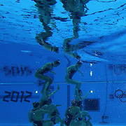 The team from China competes during the Synchronized Swimming team technical routine at the Aquatics Centre, Olympic Park, during the London 2012 Olympic games. London, UK. 9th August 2012. Photo Tim Clayton