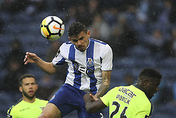 April 8, 2018 - Porto, Aveiro, Portugal - Porto's Brazilian forward Soares jumps during the Premier League 2017/18 match between FC Porto v CD Aves, at Dragao Stadium in Porto on April 8, 2018. (Credit Image: © Dpi/NurPhoto via ZUMA Press)
