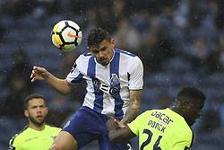 April 8, 2018 - Porto, Aveiro, Portugal - Porto's Brazilian forward Soares jumps during the Premier League 2017/18 match between FC Porto v CD Aves, at Dragao Stadium in Porto on April 8, 2018. (Credit Image: © Dpi/NurPhoto via ZUMA Press)