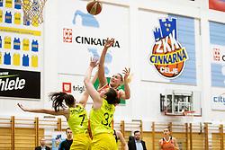 Marusa Senicar of ZKK Cinkarna Celje and Olha Yatskovets of MBK Ruzomberok in action during basketball match between ZKK Cinkarna Celje (SLO) and MBK Ruzomberok (SVK) in Round #6 of Women EuroCup 2018/19, on December 13, 2018 in Gimnazija Celje Center, Celje, Slovenia. Photo by Urban Urbanc / Sportida