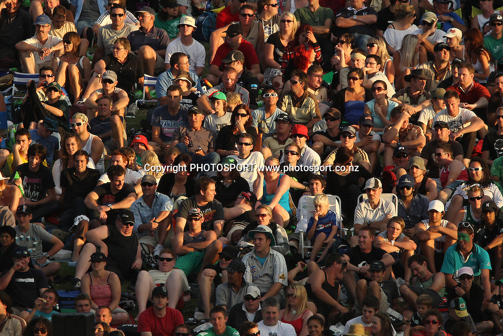 The crowd on the bank at Seddon Park watch the match.<br />