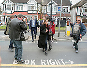 © Licensed to London News Pictures. 13/04/2015. Carshalton, UK.. Nick Clegg on Carshalton High Street. Liberal Democrat Leader of the Liberal Democrats and Deputy Prime Minister Nick Clegg visits Carshalton and Wallington constituency on Monday (13th April) with Lib Dem candidate Tom Brake.  Photo credit : Stephen Simpson/LNP