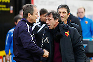 Picture by David Horn/Focus Images Ltd +44 7545 970036<br /> 14/12/2013<br /> Gianfranco Zola , Head Coach of Watford (right) and Stuart Gray , Caretaker Manager of Sheffield Wednesday before the Sky Bet Championship match at Vicarage Road, Watford.