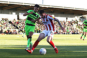 Liam Shephard and Liam McAlinden during the EFL Sky Bet League 2 match between Forest Green Rovers and Cheltenham Town at the New Lawn, Forest Green, United Kingdom on 20 October 2018.