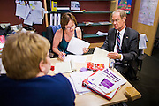 05 OCTOBER 2010 - PHOENIX, AZ: Terry Goddard (CQ) RIGHT meets with his senior campaign team, Jan Lesher (CQ)  CENTER and Jeanine L'Ecuyer (CQ) LEFT BACK TO CAMERA at Goddard's campaign office in central Phoenix. Goddard lost the election to sitting Governor Jan Brewer, a conservative Republican.     PHOTO BY JACK KURTZ