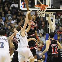 19 December 2007:   Chicago Bulls forward Tyrus Thomas (24) in action against Washington Wizards forward Darius Songaila (9) at the Verizon Center in Washington, D.C.  The Bulls defeated the Wizards 95-84.