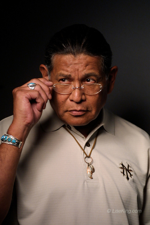 Tribal leader Anthony Pico models clothing for Native Threads catalog, San Diego, CA, 2004.