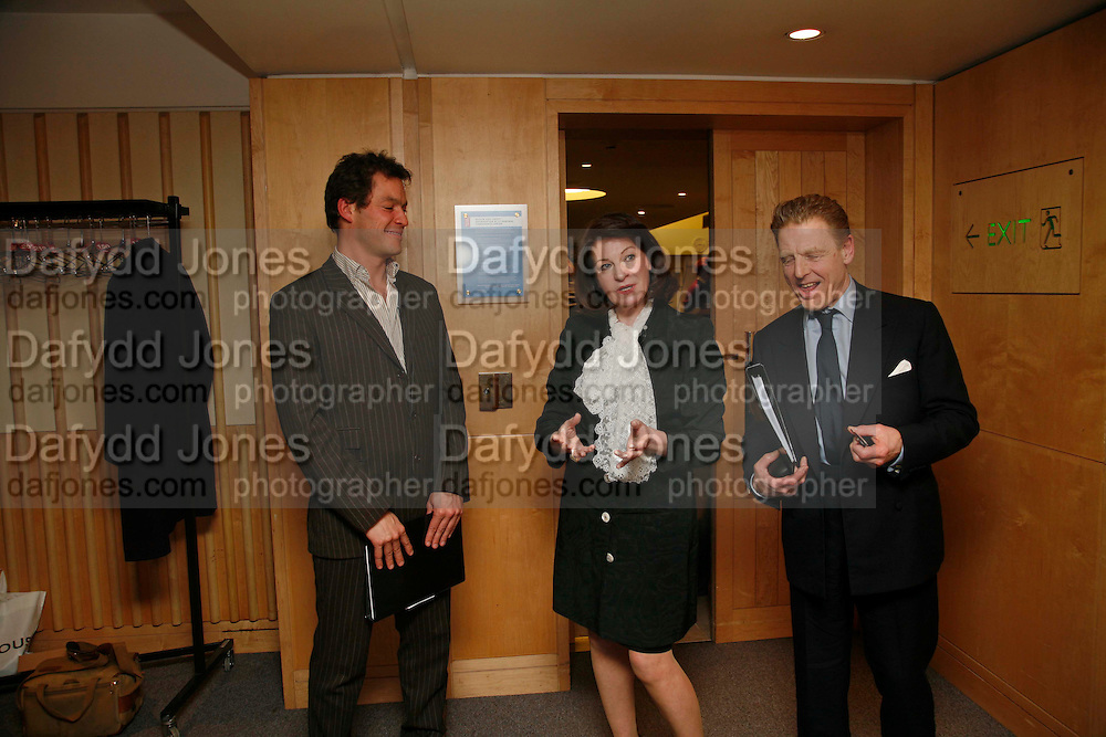 DOMINIC WEST,  JOSEPHINE HART AND EDWARD FOX. After-drinks JOSEPHINE HART Poetry Hour. British Library. Euston Rd. London. 22 March 2006. ONE TIME USE ONLY - DO NOT ARCHIVE  © Copyright Photograph by Dafydd Jones 66 Stockwell Park Rd. London SW9 0DA Tel 020 7733 0108 www.dafjones.com