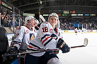 KELOWNA, BC - OCTOBER 12: Connor Zary #18 of the Kamloops Blazers jumps over the boards after the win against the Kelowna Rockets at Prospera Place on October 12, 2019 in Kelowna, Canada. (Photo by Marissa Baecker/Shoot the Breeze)