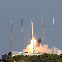 The SpaceX Falcon 9 rocket at Cape Canaveral's Complex 40 launch pad on December 8, 2010 at Cape Canaveral, Florida. (AP Photo/Alex Menendez)