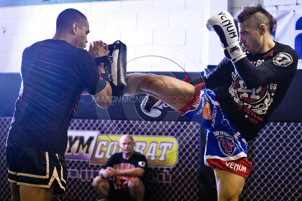 "NOTTINGHAM, ENGLAND, SEPTEMBER 26, 2012: Dan Hardy attends the open work-out sessions ahead of ""UFC on Fuel TV 5: Struve vs. Miocic"" inside Gym Combat in Nottingham, United Kingdom on Wednesday, September 26, 2012 © Martin McNeil"