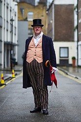 © Licensed to London News Pictures. 23/02/2020. LONDON, UK.  A man in period costume attends an event marking the 200th anniversary of the Cato Street Conspiracy in Marylebone.  On 23 February 1820, 13 plotters were foiled by Bow Street Runners (police of the day) in their attempt to overthrow the government by assassinating Prime Minister Lord Liverpool and his Cabinet ministers.  Photo credit: Stephen Chung/LNP