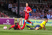 Femi Illesami and Harry Chapman during the Friendly match between York City and Middlesbrough at Bootham Crescent, York, England on 11 July 2015. Photo by Simon Davies.