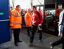 WEST BROMWICH, ENGLAND - Sunday, February 2, 2014: Liverpool's Luis Suarez steps off the team coach as the squad arrive at The Hawthorns ahead of the Premiership match against West Bromwich Albion at the Hawthorns. (Pic by David Rawcliffe/Propaganda)