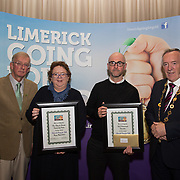 10.10. 2017. <br /> Mayor of the City and County of Limerick Cllr Stephen Keary and Noel Earlie, JP McManus Charitable Foundation presented the Limerick Going for Gold Reuse Award to the UL Environmental Committee for their repair and repurpose initiative of on campus laptops, macs and smartphones accepted by Dr. Colin Fitzpatrick, and to Our Lady of Lourdes for their Food Waste Prevention Project accepted by Eimear O'Connor.                      <br /> <br /> Limerick Going for Gold, which is sponsored by the JP McManus Charitable Foundation, has a total prize pool of over €75,000.  It is organised by Limerick City and County Council and supported by Limerick's Live 95FM, The Limerick Leader and The Limerick Chronicle, The Limerick Post, Parkway Shopping Centre, I Love Limerick and Southern Marketing Media & Design. Picture: Alan Place