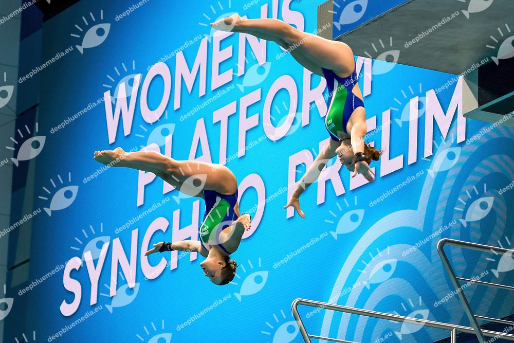 ITA BATKI Noemi-PELLACANI Chiara<br /> Women's 10m Synchro Platform Preliminary round<br /> Diving  16/07/2017<br /> XVII FINA World Championships Aquatics<br /> Duna Arena Budapest Hungary <br /> Photo @G.Scala/Deepbluemedia/Insidefoto