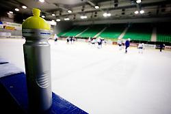 Drinking bottle at Third practice of Slovenian National Ice hockey team before World championship of Division I - group B in Ljubljana, on April 6, 2010, in Hala Tivoli, Ljubljana, Slovenia.  (Photo by Vid Ponikvar / Sportida)