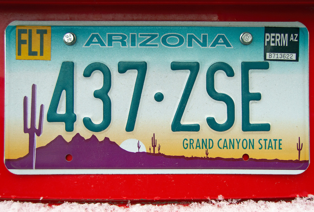 Grand Canyon State.<br /> Arizona car plate.