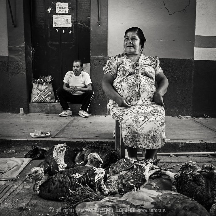 Woman at the market in Oaxaca Mexico selling live stock Turkey for your dinner. More mexico images at www.aurora.is