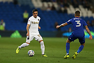 Pablo Hernandez of Leeds Utd (l) looks to go past Cardiff's Joe Bennett. EFL Skybet championship match, Cardiff city v Leeds Utd at the Cardiff city stadium in Cardiff, South Wales on Tuesday 26th September 2017.<br /> pic by Andrew Orchard, Andrew Orchard sports photography.