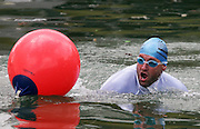 Radio DJ Jeremy Corbett takes part in a 'mini ocean swim' during the media launch for the Sovereign NZ National Ocean Swim Series held aboard the Ocean Eagle at the Viaduct in Auckland, New Zealand on Tuesday 3 October, 2006. Photo: Tim Hales/PHOTOSPORT