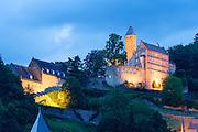 Schloss Hirschhorn bei Dämmerung, Hirschhorn, Neckar, Hessen, Deutschland | Hirschhorn Castle at dusk, Hirschhorn, Neckar, Hessen, Germany