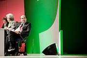 ROMA. IL SEGRETARIO DEL PARTITO DEMOCRATICO PIERLUGI BERSANI SEDUTO AL TAVOLO DI PRESIDENZA NEL CORSO DELL'ASSEMBLEA NAZIONALE DEL PARTITO; PIERLUGI BERSANI SECRETARY OF THE DEMOCRATIC PARTY