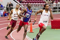 Boston University Multi-team indoor track & field, men 4x400 meter relay, heat 1, Delaware State, UMass Lowell