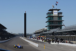 April 30, 2018 - Indianapolis, IN, U.S. - INDIANAPOLIS, IN - APRIL 30: Alexander Rossi (27) entering Turn 1 with the famous Pagoda and Scoring Pylon in the background during an Open Test on April 30, 2018, at the Indianapolis Motor Speedway in Indianapolis, IN. (Photo by James Black/Icon Sportswire) (Credit Image: © James Black/Icon SMI via ZUMA Press)